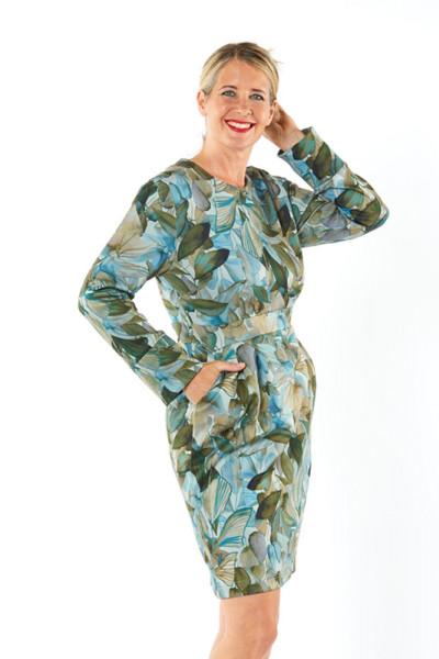 Jerseykleid Bonding mit floralem Muster in blau