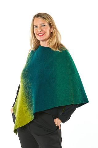 Poncho 3-farbig Wolle/Baumwolle