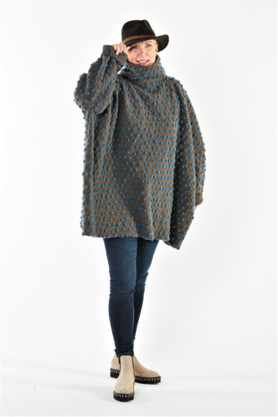 Poncho-Pullover aus Wolle/Baumwolle