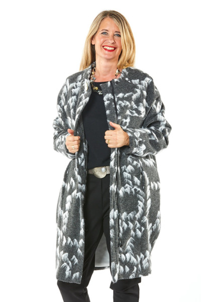 Mantel Wollmischung grau mit Tupfen