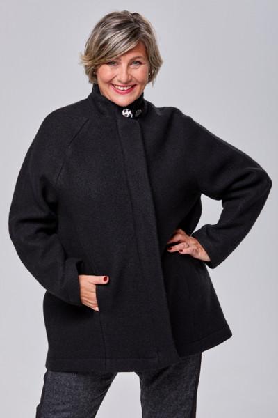 Jacke aus Walk in schwarz