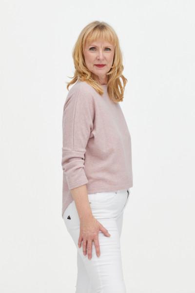 Pullover aus 100% Merino rosa meliert