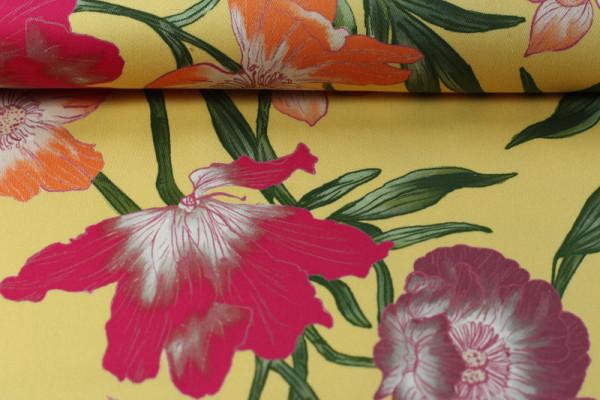 Baumwolle Stretch Blumen gelb