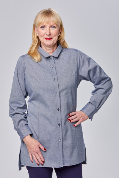 Hemdbluse aus Bio-Baumwolle in blau