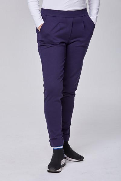 Hose aus elastischem Romanit-Jersey in Blau