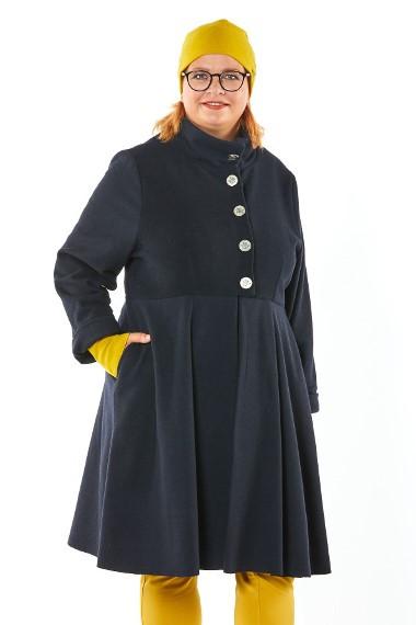 Mantel Wollmischung Schurwolle/Kashmir blau