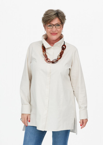 Hemdbluse aus Oxfordbaumwolle creme