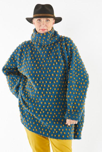 Poncho-Pullover in Petrol mit senffarbenen Punkten