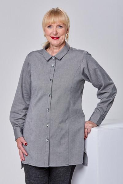 Hemdbluse aus Bio-Baumwolle in grau
