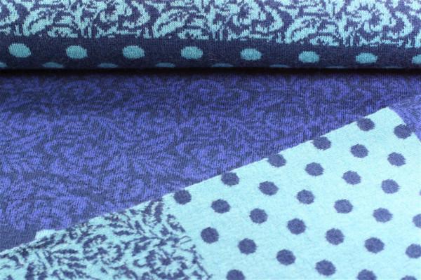 Merino Jacquard blau Muster und Punkte