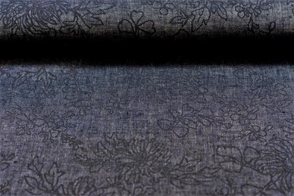 Leinen zweifarbig jeans blau Reliefdruck