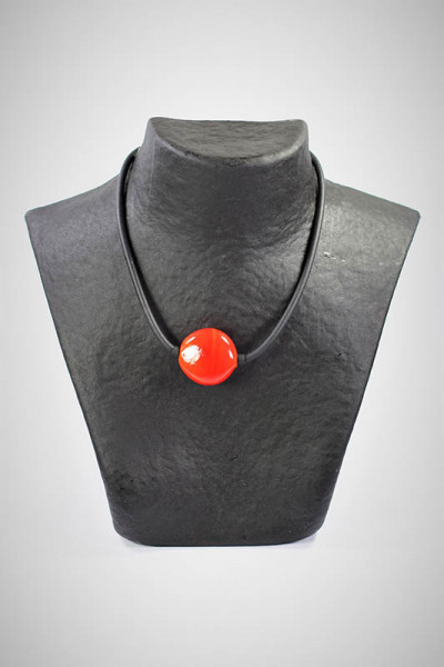 Halskette aus Muranoglas orangerot
