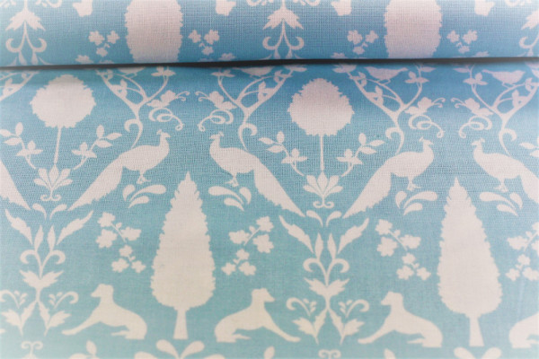 Baumwolle Notting Hill Pfau Gütermann hellblau/weiß