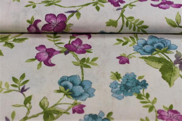 Baumwolle Blüten magenta/blau