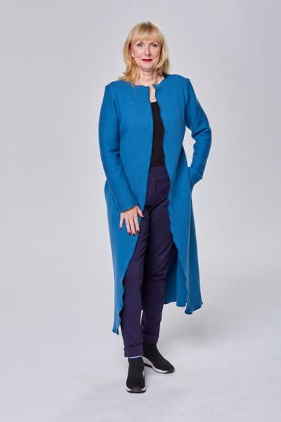 Langer Mantel aus feiner Merinowolle in blau