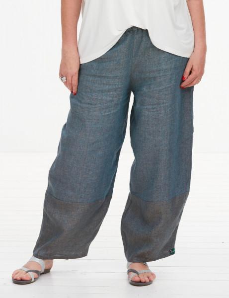 Leinen Hose zweifarbig blau-braun
