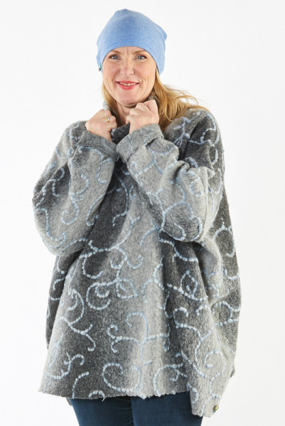 Poncho-Pullover weit geschnitten in grau und blau