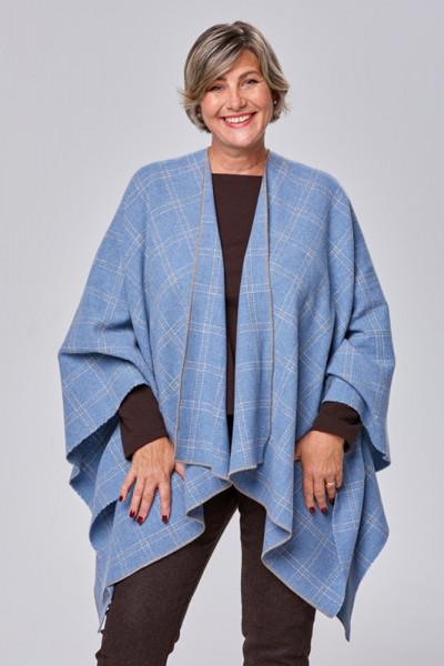 Tolles Cape aus Wolle kariert in blau weiß