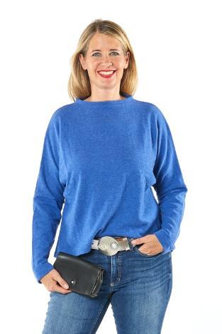 Pullover aus 100% Merino mittelblau