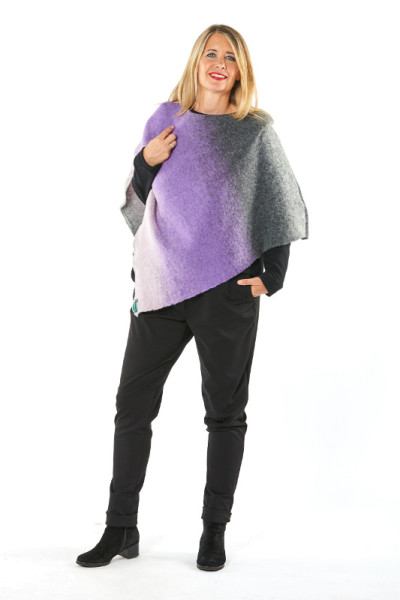 Poncho 3-farbig Wolle/Baumwolle
