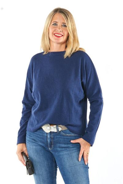 Pullover aus feiner dunkelblauer Merinowolle
