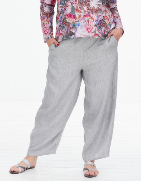 Leinen Hose zweifarbig grau-hellgrau