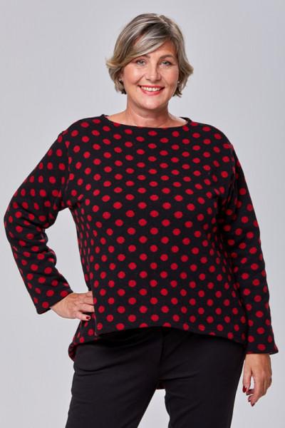 Schwarzer Woll-Pullover mit roten Punkten
