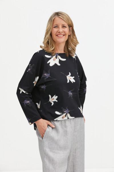 Baumwolljersey-Shirt Lilie weiß