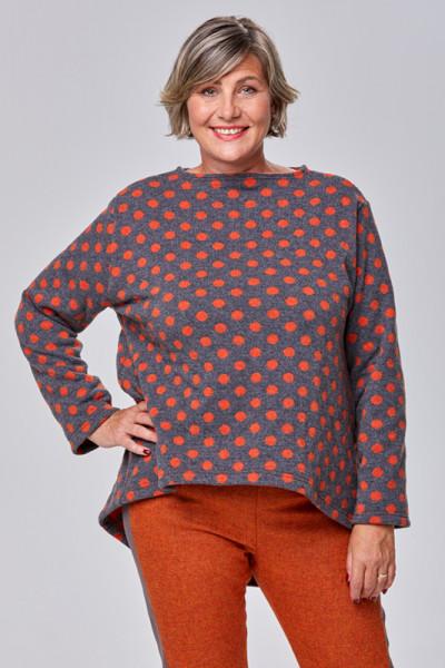 Grauer Woll-Pullover mit orangen Punkten