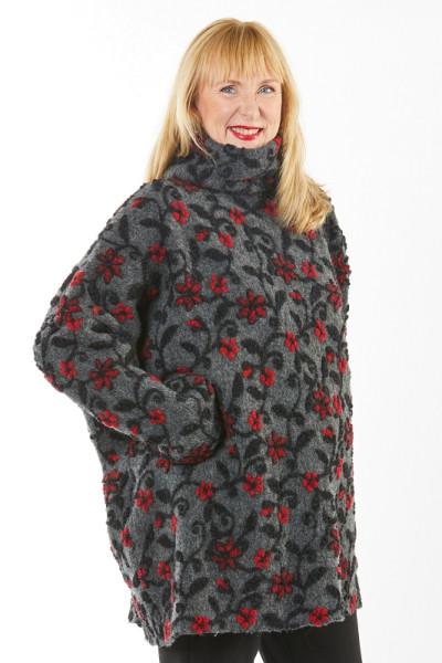 Poncho-Pullover grau mit roten Blüten