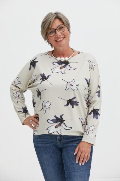 Baumwolljersey-Shirt Lilie weiß/blau