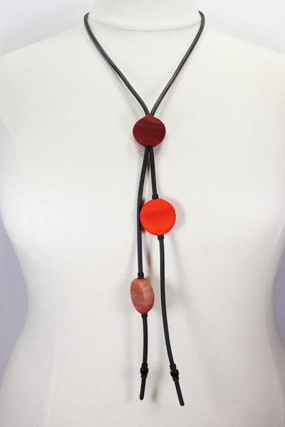 Lange Halskette aus Muranoglas rot